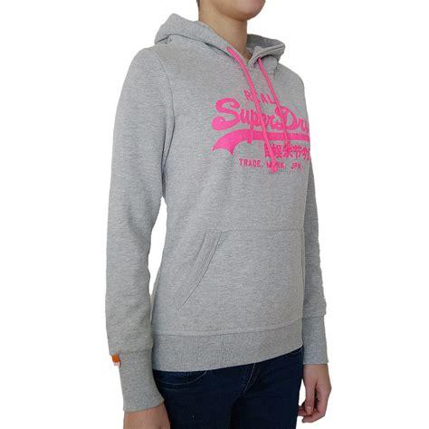 superdry damen kapuzenpullover black label sweatshirt hoodie grau pink real ebay