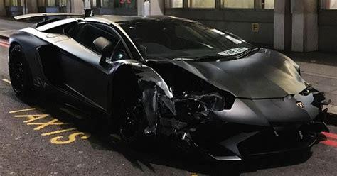 lamborghini aventador sv roadster black matte black lamborghini aventador sv roadster crashes in london w video