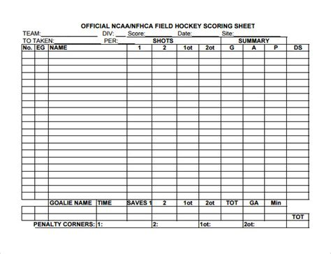 hockey score sheet templates  google docs ms
