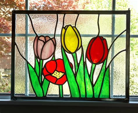 tulips stained glass window panel stained glass flowers