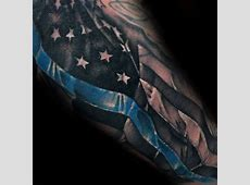 Tattoo Trends Cool Thin Blue Line American Flag Male