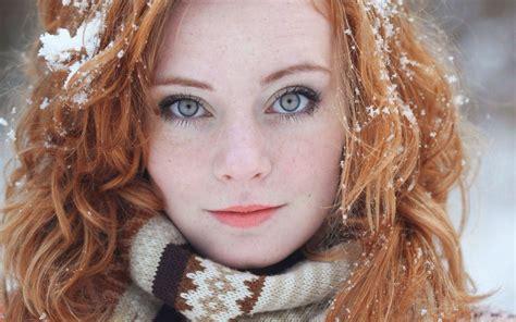 Wallpaper Face Women Outdoors Redhead Model Long
