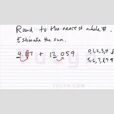 Rounding To The Nearest Whole Number Estimating The Sum 5