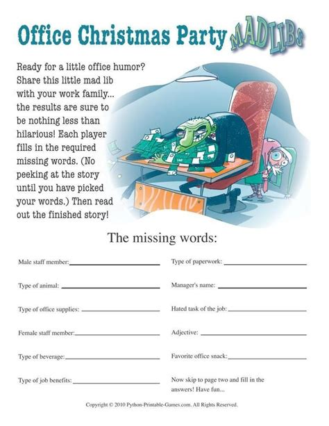 office games to play at christmas for the office office mad libs 6 95 printable for the office