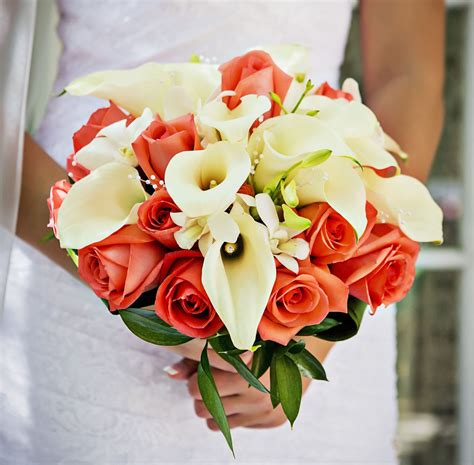 Coral Roses White Calla Lily And Orchid Bridal Bouquet