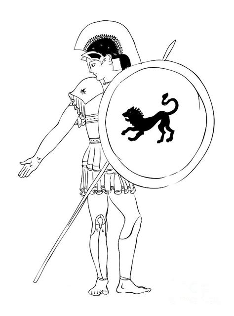 hero warrior  ancient greece drawing  michal boubin
