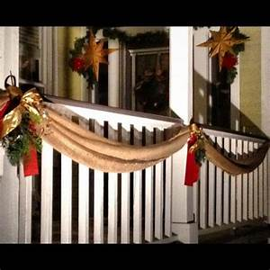 Great outdoor Christmas decor using draped burlap instead