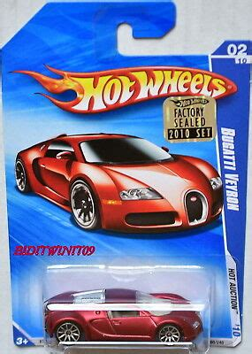 Satin red, w/painted tail lights, black malaysia base, w/10sp's. HOT WHEELS 2010 HOT AUCTION BUGATTI VEYRON #02/10 RED SATIN FACTORY SEALED W+ | eBay