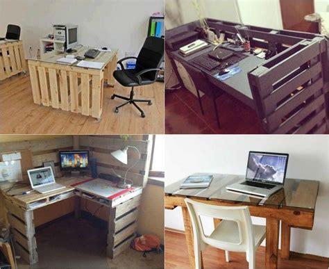 bureau en palettes bureau en bois 34 idées diy très cool en palette europe