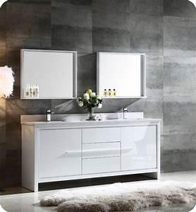Fresca FVN8172WH Allier 72quot Double Sink Modern Bathroom