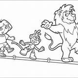 Coloring Dora Tightrope Pages Explorer Boots Backpack Benny Bull Tico Walkers Squirrel Lion Mochila Sweets sketch template