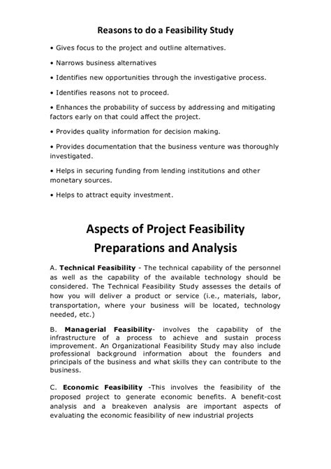 aspects  project feasibility preparations  analysis