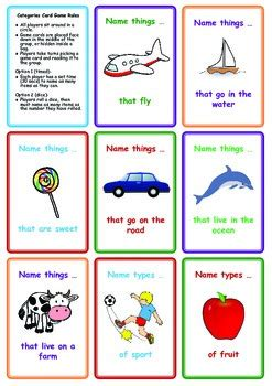 Free Categories Card Game Name Things That By