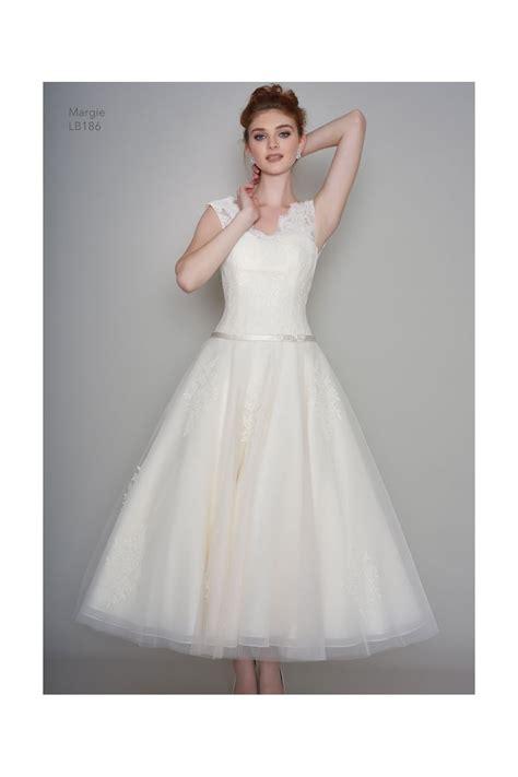 ankle wedding dress lb186 margie loulou bridal calf ankle tea length