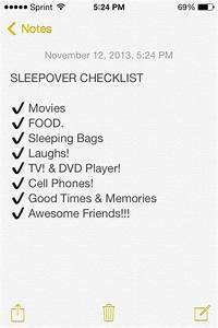 Sleepover Checklist Sleepover Fun Ideas U0026 Of Course