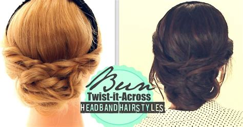medium hair styles images headband hairstyles 2 everyday bun twisted updo for 8451