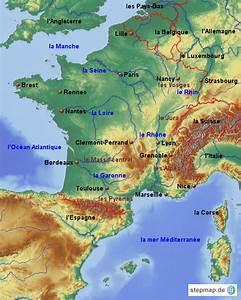 Schöne Städte In Frankreich : frankreich st dte l nder gew sser gebirge von giant landkarte f r frankreich ~ Buech-reservation.com Haus und Dekorationen