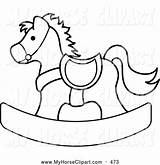 Horse Coloring Rocking Clipart Clip Children Outlined Pams Colouring Rockinghorse Template sketch template