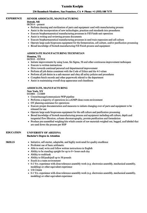 associate manufacturing resume samples velvet jobs