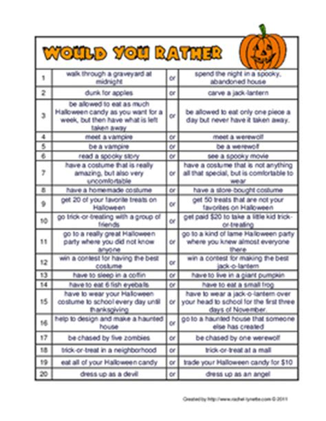 Free Halloween Would You Rather Questions For Kids By