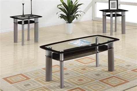 3 coffee table and end tables set f3076 on a 3pc apollo modern glass top coffee table end table set
