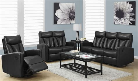bk  black bonded leather reclining living room set