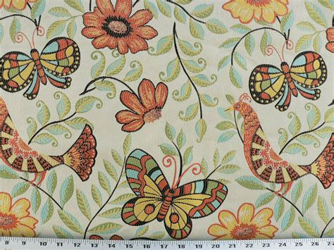 Blue And Orange Upholstery Fabric by Drapery Upholstery Fabric Birds And Butterflies Orange