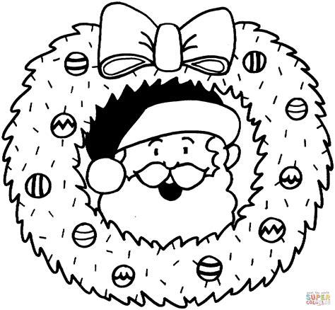 Christmas Wreath With Santa Coloring Page Free Printable
