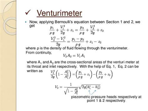 Venturimeter -application Of Bernoulli's Law