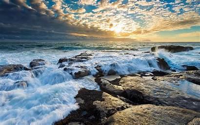 Water Rock Sea Clouds Waves Nature Desktop