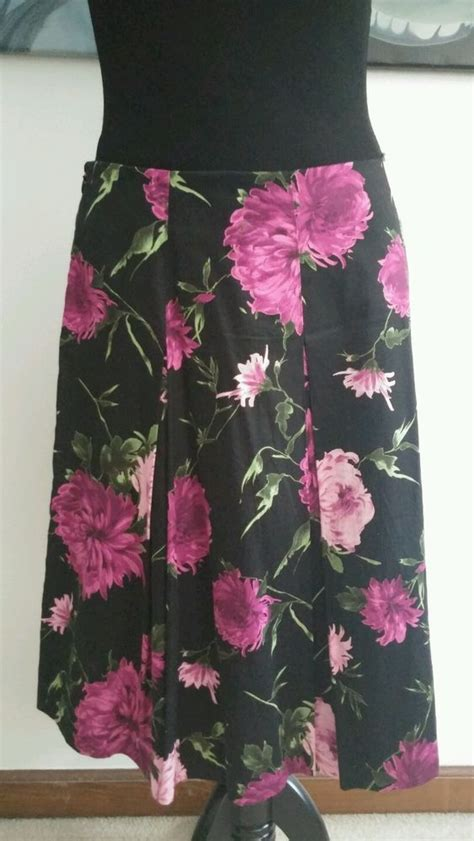 talbots skirt sz  black pink green floral pleated fully