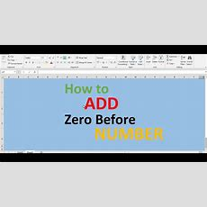 How To Add Zero Before Number In Excel Youtube