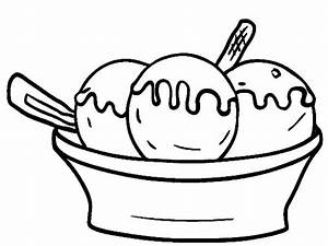 Simple Coloring Ice Cream Bowl Pages Three Scoop Of ...