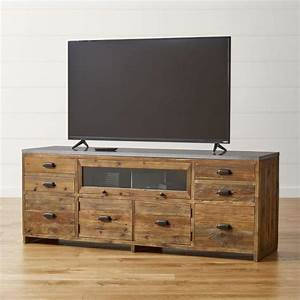 Brown and gray reclaimed wood media console for Barnwood media cabinet