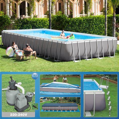rechteck pool komplettset intex 975 x 488 x 132cm swimming pool rechteck stahlwand frame schwimmbad 26372 ebay