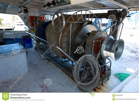 Boat Engine Winch by Fishing Trawler Boat Engine Motor Winche Stock Photo