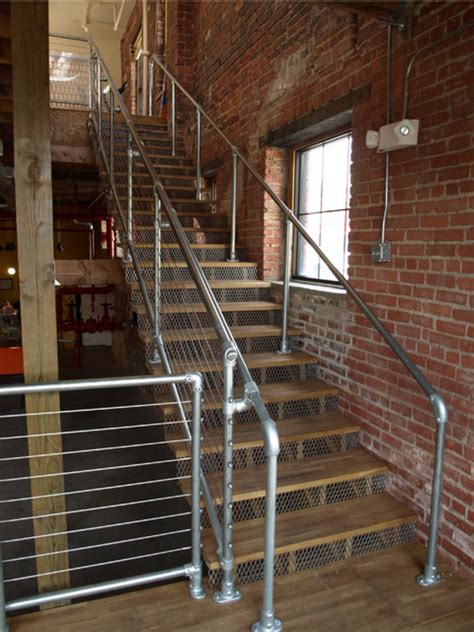 Steel Banister by Industrial Pipe Galvanized Steel Handrail Kitemedia Co