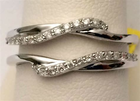10k white gold 0 19 ct solitaire enhancer diamonds ring guard wrap wedding band ebay