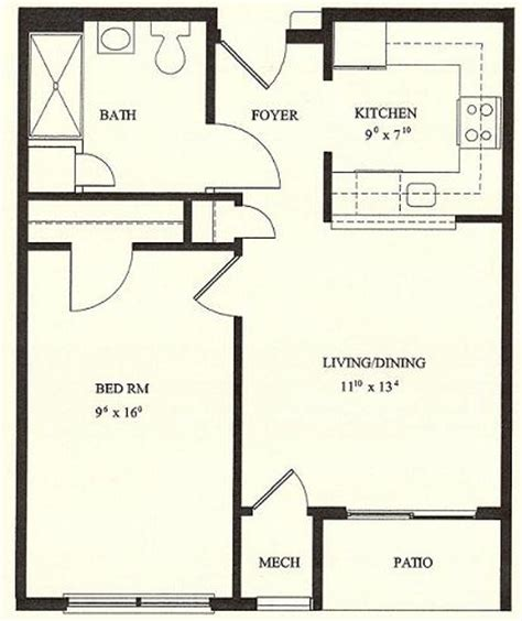 1 Bedroom House Floor Plans by Wingler House