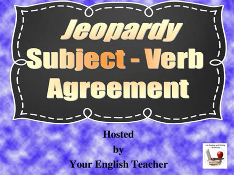 subject verb agreement jeopardy style powerpoint game