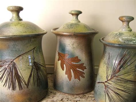 Pottery Canisters Kitchen by Cannister Set Lidded Jars Kitchen Cannisters With Tree