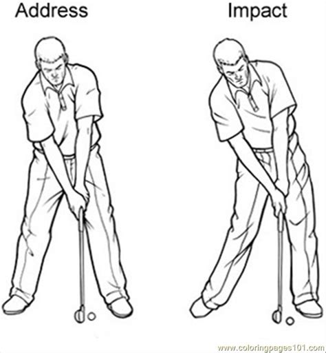 golf swing sequence coloring page  golf coloring