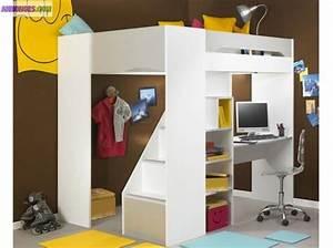 Lit Mezzanine 2 Places Avec Bureau : lit combi bureau mezzanine ~ Melissatoandfro.com Idées de Décoration