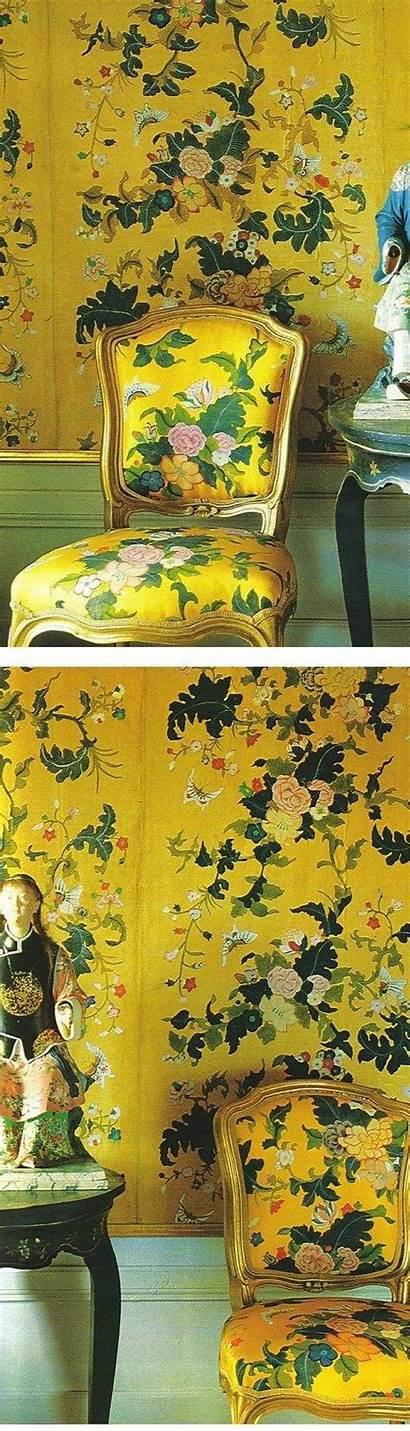 Chinoiserie Chinese Yellow Interiors Pavilion Fabric Drottningholm