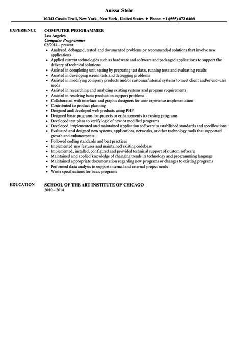 Computer Programmer Resume by Computer Programmer Resume Sle Velvet