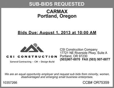 csi construction  requesting  contractor bids