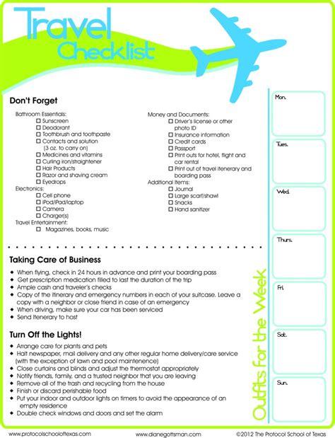 travel checklist printable
