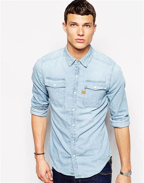 light denim shirt mens lyst g g denim shirt landoh 2 pocket light