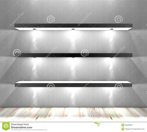 white shelves with lights illuminated spotlights stock