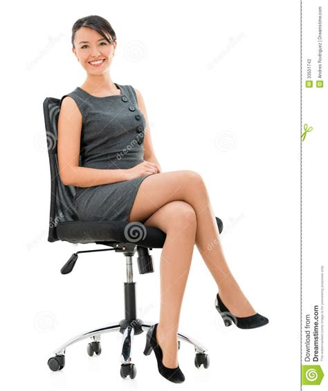Business Woman Sitting On A Chair Stock Photo Image